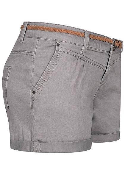 Sublevel Damen kurze Shorts 4-Pockets inkl. Flechtgürtel taupe hell grau