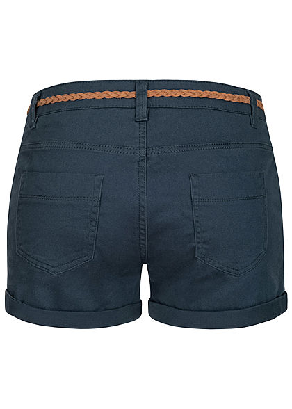 Sublevel Damen kurze Shorts 4-Pockets inkl. Flechtgürtel navy blau
