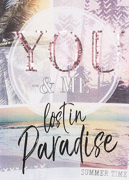 Zabaione Damen Top Paradise Print You Pailletten weiss rosa