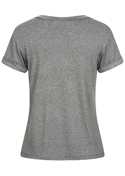 Fresh Tee Damen T-Shirt Frenchie Dog Print dunkel grau melange