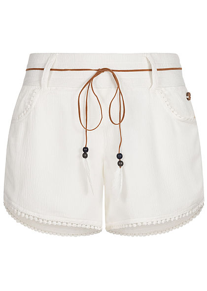 Eight2Nine Damen Sommer Shorts 2-Pockets inkl. Feder Gürtel off weiss - Art.-Nr.: 20063057