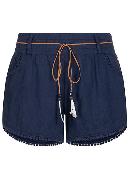 Eight2Nine Damen Sommer Shorts 2-Pockets inkl. Feder Gürtel stormy navy blau - Art.-Nr.: 20063058