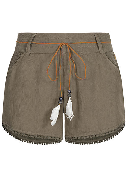 Eight2Nine Damen Sommer Shorts 2-Pockets inkl. Feder Gürtel ivy oliv grün - Art.-Nr.: 20063059