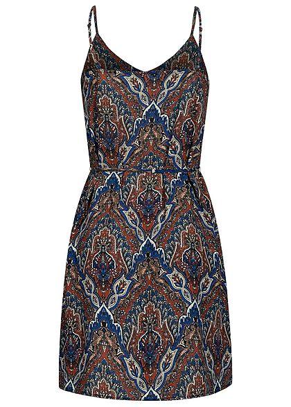 ONLY Damen V-Neck Mini Kleid inkl. Bindegürtel Paisley ...
