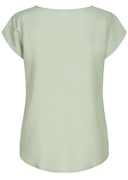 Sublevel Damen leichtes Vokuhila Blusen Shirt runder Saum cloudy grün