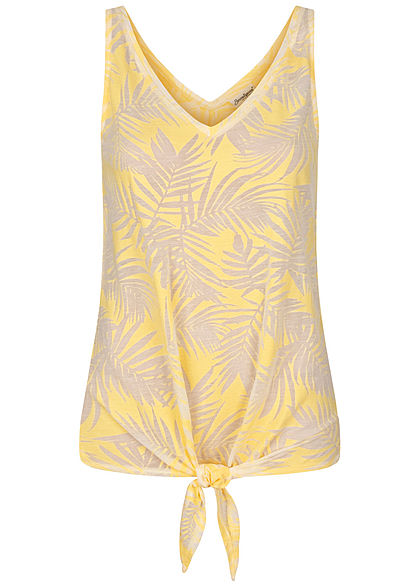 Seventyseven Lifestyle Damen Tank Top Tropical Burnout Print Bindedetail gelb - Art.-Nr.: 20068033