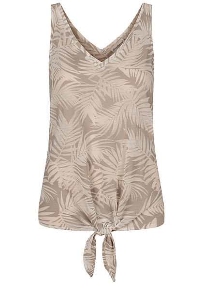 Seventyseven Lifestyle Damen Tank Top Tropical Burnout Print Bindedetail silber grau - Art.-Nr.: 20068034