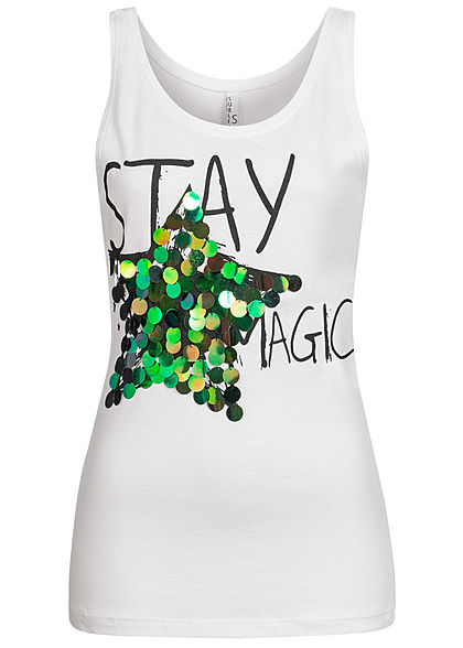 Sublevel Damen Tank Top Stay Magic Print Pailletten weiss - Art.-Nr.: 20073366