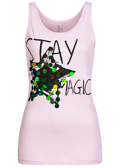 Sublevel Damen Tank Top Stay Magic Print Pailletten tender lila pink - Art.-Nr.: 20073367