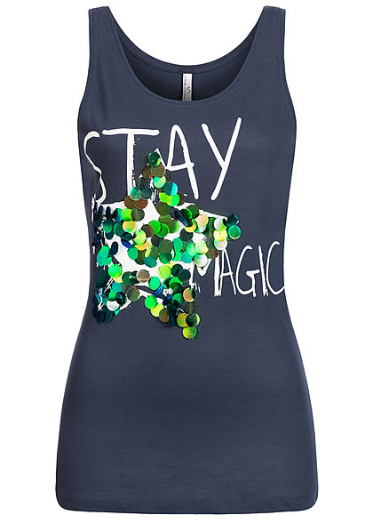 Sublevel Damen Tank Top Stay Magic Print Pailletten navy dunkel blau - Art.-Nr.: 20073368