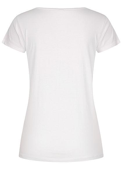 Sublevel Damen T-Shirt Mermaid Starfish Print Deko Perlen weiss