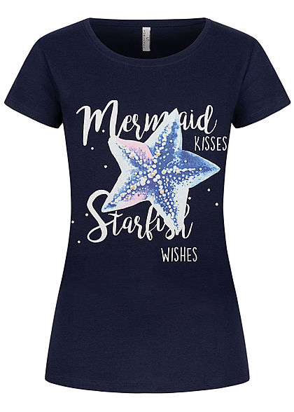 Sublevel Damen T-Shirt Mermaid Starfish Print Deko Perlen dunkel navy blau
