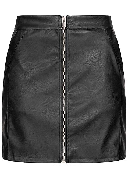Hailys Damen Mini Rock Kunstleder Zipper vorne 2-Pockets schwarz - Art.-Nr.: 20083846