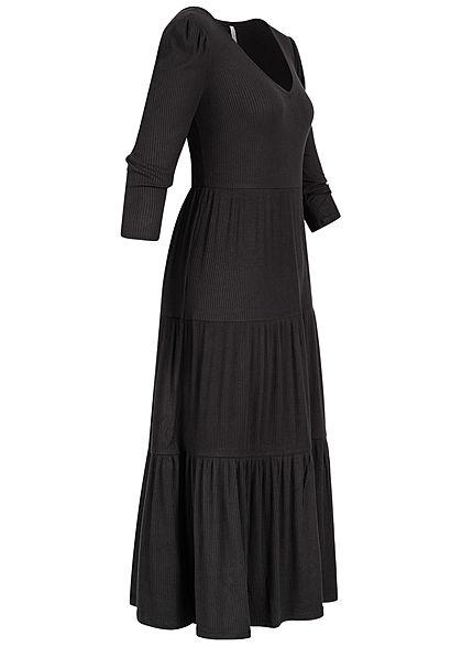 Hailys Damen 3/4 Arm Ribbed V-Neck Midi Viskose Kleid schwarz