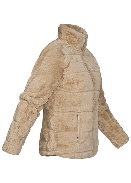 Zabaione Damen kurze Kunstfell Jacke in Querstreifenoptik 2-Pockets hell braun beige