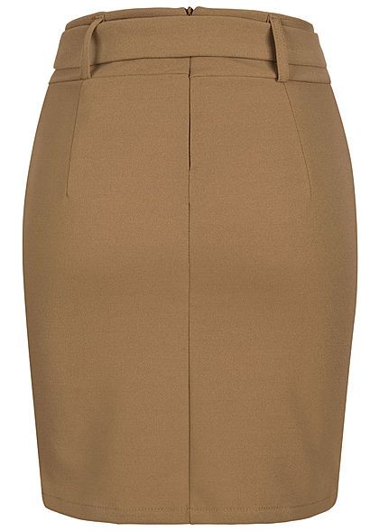 Styleboom Fashion Women Mini Skirt with Belt camel brown