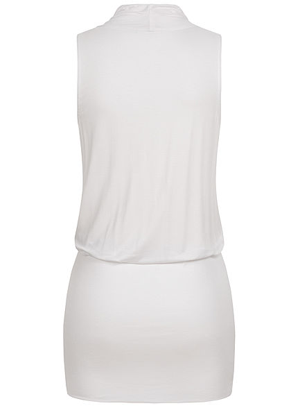 Seventyseven Lifestyle Women V-Neck Viscose Dress with Belt Wrap Look white