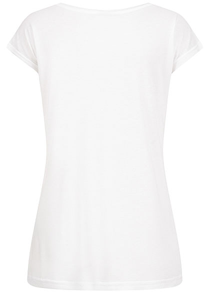 Sublevel Damen Viskose T-Shirt mit Paillettenfront Comme weiss gold