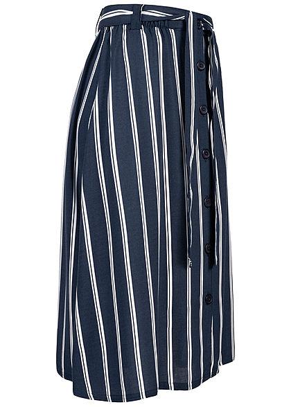 Eight2Nine Damen Midi Rock Knopfleiste Bindegürtel Streifen Muster navy weiss