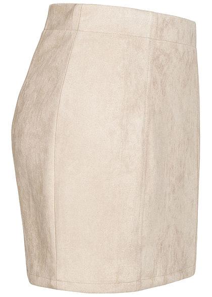 Eight2Nine Damen Kunstleder Mini Rock Zipper hinten Teilungsnähte beige