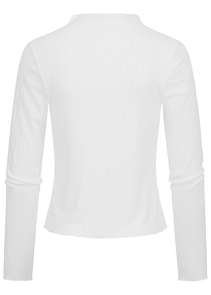 Sublevel Damen Ribbed Frill Longsleeve Pullover High-Neck off weiss