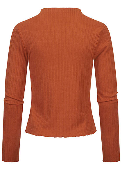 Sublevel Damen Ribbed Frill Longsleeve Pullover High-Neck auburn braun