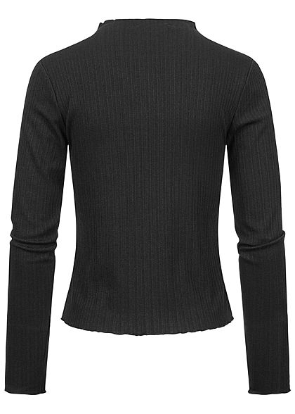 Sublevel Damen Ribbed Frill Longsleeve Pullover High-Neck schwarz