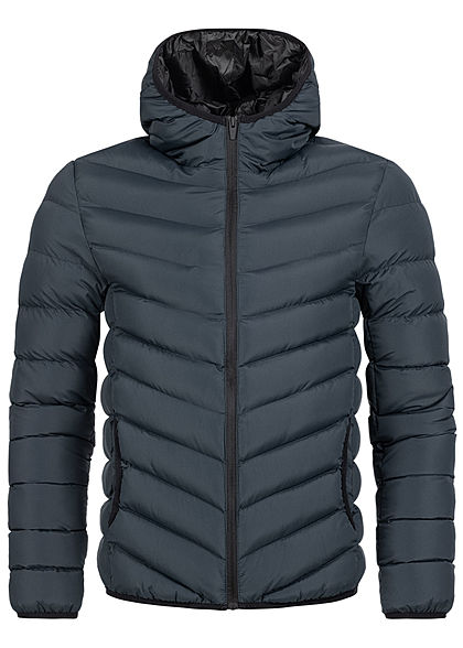 Brave Soul Herren Winter Steppjacke Kapuze 2-Pockets unicolor navy blau