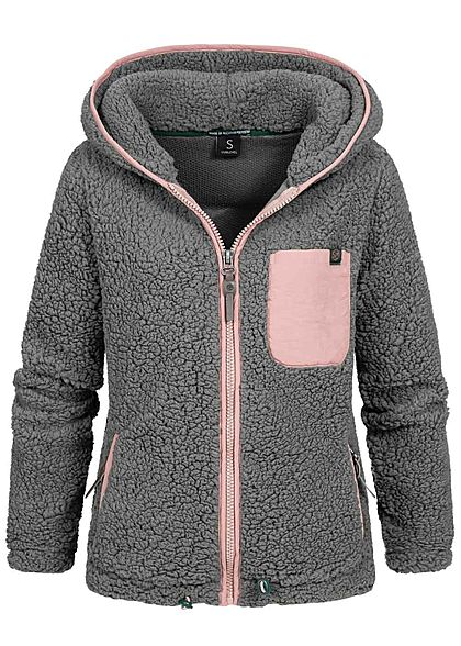 Sublevel Damen Teddy Fleece Jacke Zip-Hoodie 3-Pockets Brusttasche taupe grau beige - Art.-Nr.: 20094531