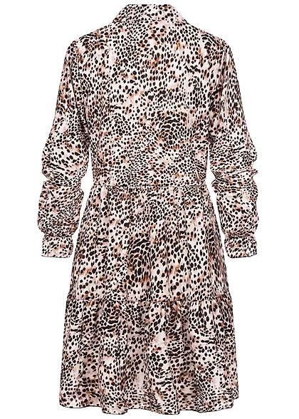 Styleboom Fashion Women Mini Dress Allover Leo Print brown black