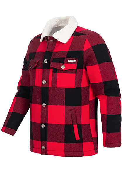 Eight2Nine Herren Jacquard Winterjacke 4-Pockets Karo Muster cherry rot schwarz