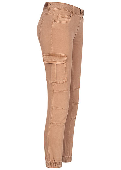 ONLY Damen NOOS Ankle Cargo Jeans 6-Pockets Regular Waist tigers eye dunkel beige - Art.-Nr.: 20104609