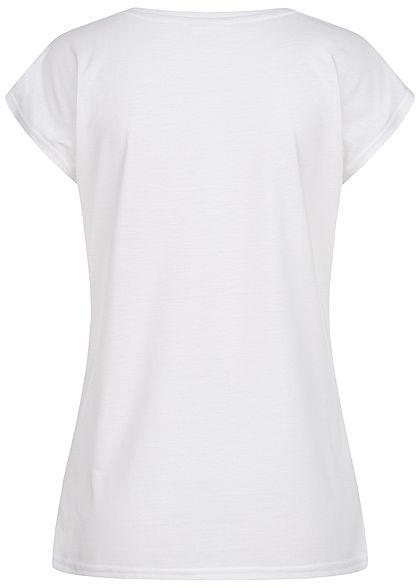 Zabaione Damen T-Shirt Yourself Pailletten Feder Print weiss gold
