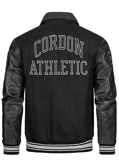 Cordon Sport Berlin Men Leather Jacket Material Mix Logo Patch 2-Pockets black