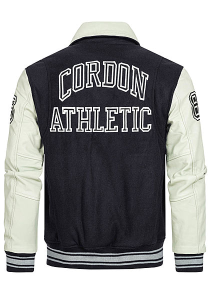 Cordon Sport Berlin Men Leather Jacket Material Mix Logo Patch 2-Pockets navy blue