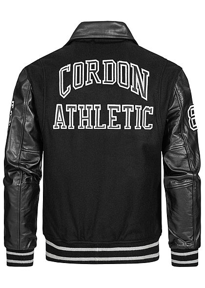 Cordon Sport Berlin Men Leather Jacket Material Mix Logo Patch 2-Pockets black white