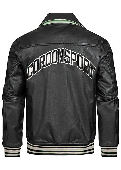Cordon Sport Berlin Men Leather Jacket Logo Patch on the front and back 2-Pockets black white