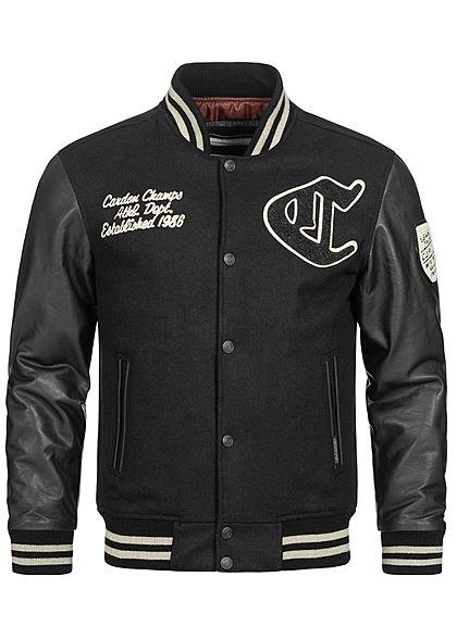 Cordon Sport Berlin Men Leather Jacket Material Mix Logo Frontpatch 2-Pockets black