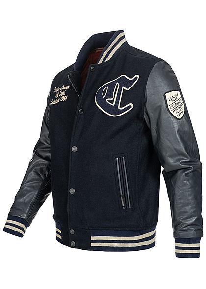 Cordon Sport Berlin Men Leather Jacket Material Mix Logo Frontpatch 2-Pockets navy blue