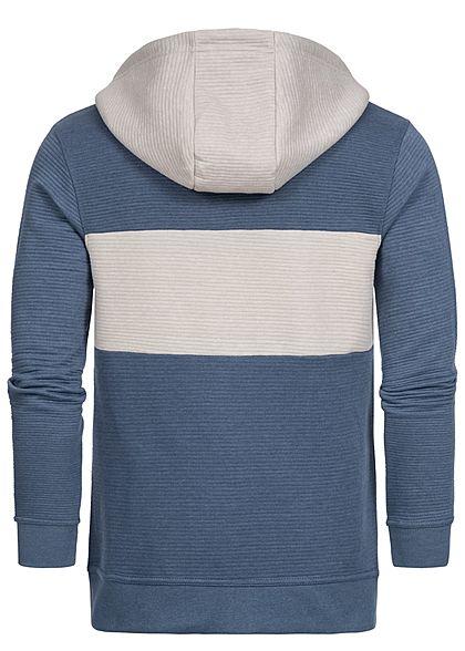 Sublevel Herren 2-Tone Ribbed Zip Hoodie Kapuze 2-Pockets flintstone blau beige grau