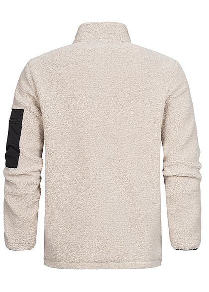 Sublevel Herren warme 2-Tone Struktur Teddyfleece Jacke 3-Pockets sand beige schwarz