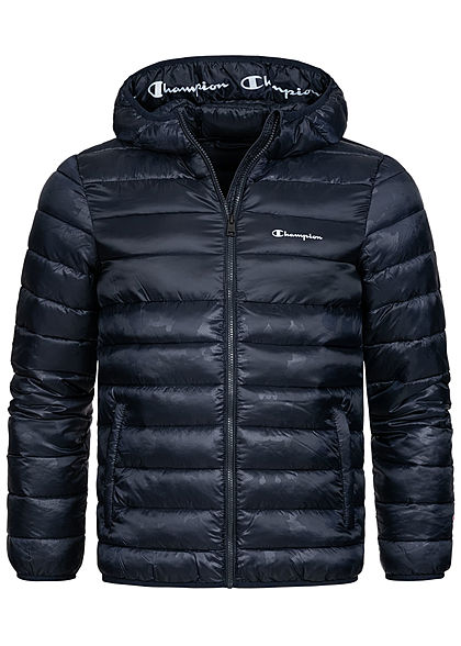 Champion Herren Winter Nylon Steppjacke Kapuze 2-Pockets navy blau - Art.-Nr.: 20110237