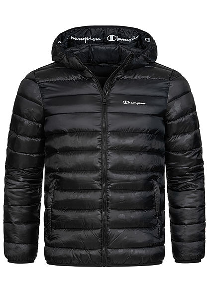 Champion Herren Winter Nylon Steppjacke Kapuze 2-Pockets schwarz - Art.-Nr.: 20110238