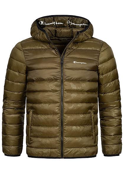Champion Herren Winter Nylon Steppjacke Kapuze 2-Pockets oliv grün - Art.-Nr.: 20110239