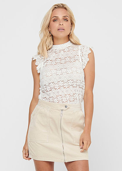 JDY by ONLY Woman NOOS Short Sleeves Top Flower Details cloud white - Art.-Nr.: 20120436