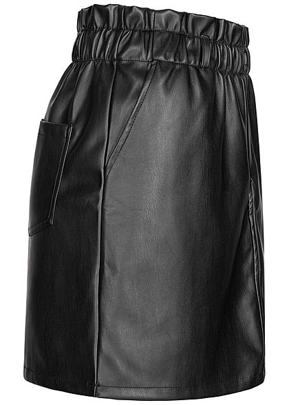 Noisy May Women NOOS Paperbag Leather Imitation Mini Skirt High-Waist black