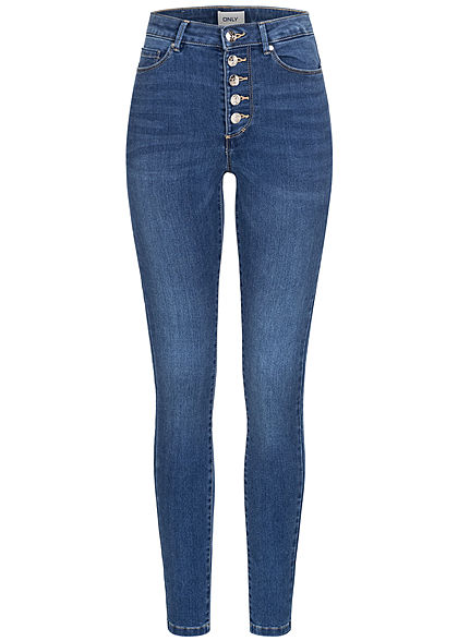 ONLY Damen Skinny Jeans Hose High-Waist 5-Pockets medium blau denim - Art.-Nr.: 21010030