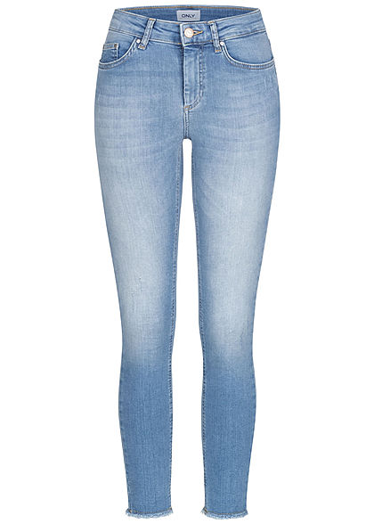 ONLY Damen Ankle Skinny Jeans Hose 5-Pockets Crash Optik Fransen hell blau denim - Art.-Nr.: 21010031