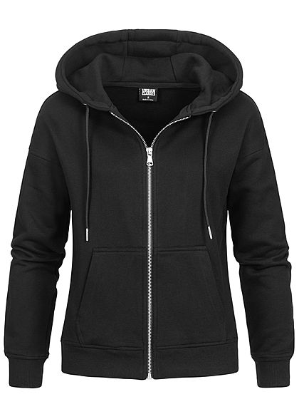 Urban Classics Damen Zip Hoodie Sweat Jacke Kapuze 2-Pockets schwarz - Art.-Nr.: 21010052