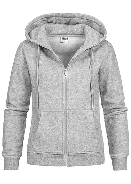 Urban Classics Damen Zip Hoodie Sweat Jacke Kapuze 2-Pockets grau - Art.-Nr.: 21010053